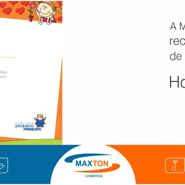 Hospital Pequeno Príncipe de Curitiba emite certificado de empresa colaboradora a Maxton Logistica